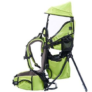OLizee Foldable Outdoor Baby Kids Toddler Backpack Carrier with Sunshade and Stand (Green)|abareusagi-usa