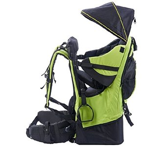 OLizee Foldable Outdoor Baby Kids Toddler Backpack Carrier with Canopy (Green)|abareusagi-usa