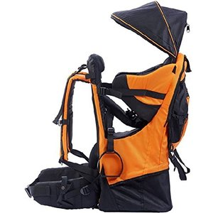 OLizee Foldable Outdoor Baby Kids Toddler Backpack Carrier with Canopy (Orange)|abareusagi-usa