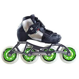 インラインスケートAtom Luigino Kid's Adjustable Challenge 3-Wheel or 4-Wheel Inline Speed Skate Package with Striker Fram