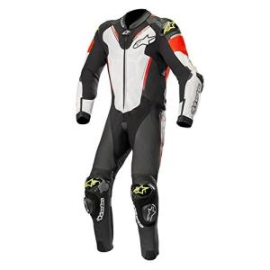 3156518 48 Alpinestars Atem V3 Men's 1-Piece Street Race Suits - Black/White/Red/Yellow / 48 abareusagi-usa