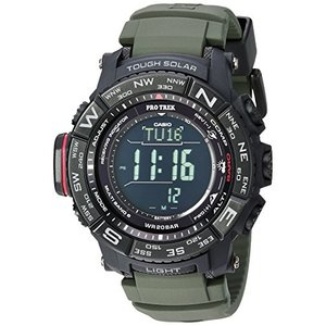 カシオCasio Men's Pro Trek Stainless Steel Quartz Watch with Resin Strap, Green 20.2 (Model: PRW-3510Y-8CR)|abareusagi-usa