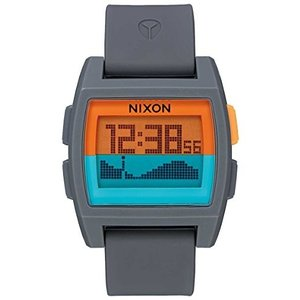One Size NIXON Base Tide A1115 - Gray/Orange/Teal - 111M Water Resistant Men's Digital Surf Watch (38 mm Watch Face, 33 mm Pu/Rubb|abareusagi-usa