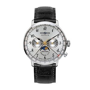 Zeppelin Series LZ129 Hindenburg Men's Multifunction Day/Date Moon Phase Watch Silver with Black Strap 7036-1|abareusagi-usa