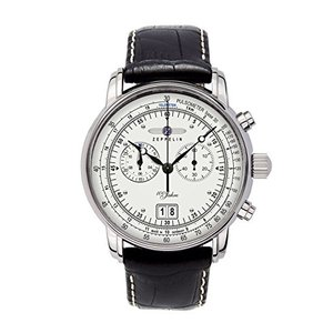 Graf Zeppelin Chronograph Big Date Watch with 12-hr Totalizer, Leather Strap 7690-1|abareusagi-usa