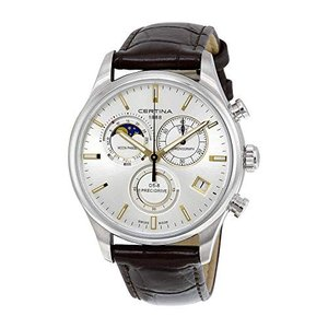 Certina DS- 8 Chronograph Moon Phase Silver Dial Brown Leather Mens Watch C0334501603100|abareusagi-usa