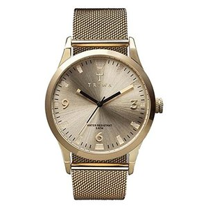 One Size Triwa Unisex LAST114 Sort of Black Gold Watch with Gold Mesh Steel Band abareusagi-usa