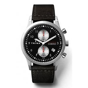Triwa Unisex Raven Lansen Chrono Watch with Black Leather Band LCST114 SC010112 abareusagi-usa