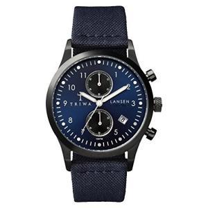 One Size Triwa Lansen Chrono Wrist Watch w/ Canvas Band (Navy) abareusagi-usa