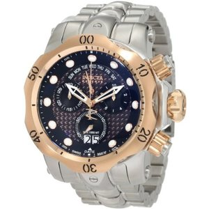 Invicta Men's 1541 Reserve Venom Chronograph Black Dial Stainless Steel Watch abareusagi-usa