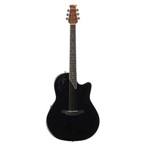 Mid-Depth Ovation Applause 6 String Acoustic-Electric Guitar, Right, Black, Mid-Depth (AE44II-5) abareusagi-usa