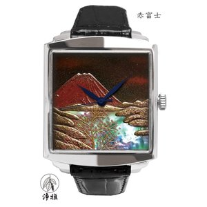 腕時計 代引不可 高級蒔絵時計 浄雅 URUSHI 漆 MAKIE 蒔絵 漆塗り ハンドメイド文字盤 「赤富士」 自動巻 メンズ 腕時計 G01002|abbeyroad