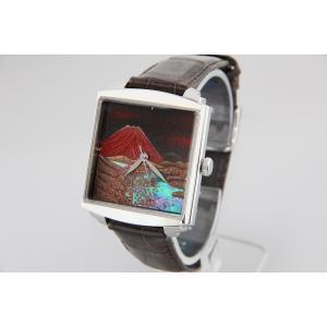 腕時計 代引不可 高級蒔絵時計 浄雅 URUSHI 漆 MAKIE 蒔絵 漆塗り ハンドメイド文字盤 「赤富士」 自動巻 メンズ 腕時計 G01002|abbeyroad|02
