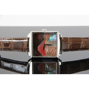 腕時計 代引不可 高級蒔絵時計 浄雅 URUSHI 漆 MAKIE 蒔絵 漆塗り ハンドメイド文字盤 「赤富士」 自動巻 メンズ 腕時計 G01002|abbeyroad|03