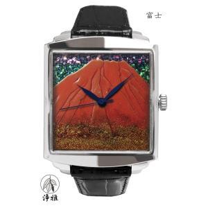 腕時計 代引不可 高級蒔絵時計 浄雅 URUSHI 漆 MAKIE 蒔絵 漆塗り ハンドメイド文字盤 「富士」 自動巻 メンズ 腕時計 G01004|abbeyroad