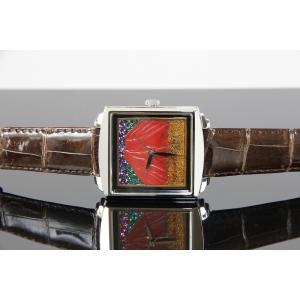 腕時計 代引不可 高級蒔絵時計 浄雅 URUSHI 漆 MAKIE 蒔絵 漆塗り ハンドメイド文字盤 「富士」 自動巻 メンズ 腕時計 G01004|abbeyroad|02
