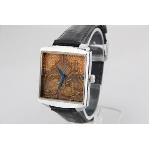 腕時計 代引不可 高級蒔絵時計 浄雅 URUSHI 漆 MAKIE 蒔絵 漆塗り ハンドメイド文字盤 「山水」 自動巻 メンズ 腕時計 G01010|abbeyroad|06
