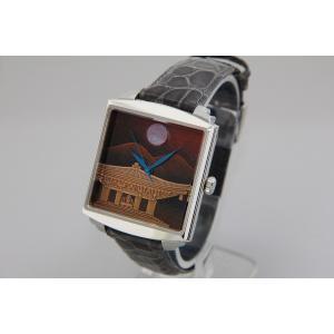 腕時計 代引不可 高級蒔絵時計 浄雅 URUSHI 漆 MAKIE 蒔絵 漆塗り ハンドメイド文字盤 「夕焼けに光堂」 自動巻 メンズ 腕時計 G01011|abbeyroad|05