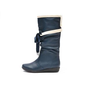 【NUOVO】 ヌオーヴォ レインブーツ 長靴 NC20009 RIBBON RAIN 3 ヒール3cm SP13 NAVY|abc-martnet