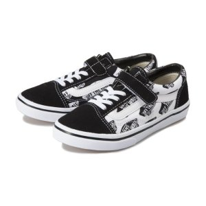 キッズ 【VANS】 ヴァンズ OLD SKOOL (14-22) オールドスクール V36CJ LOGO BLACK/LOGO|abc-martnet