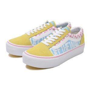 ヴァンズ スニーカー VANS OLD SKOOL PLAT オールドスクールプラット V36PLAT C.CANDY 19SP YEL/SAX/PINK|abc-martnet