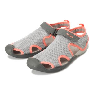 【crocs】 クロックス Swiftwater Mesh Sandal W スイフトウォーターメッシュサンダル 204597-01S L Grey/P White|abc-martnet