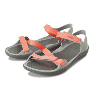 【crocs】 クロックス swiftwater webbing sandal w スイフトウォーターウェビングサンダル 204804-001 Coral/LightGrey|abc-martnet