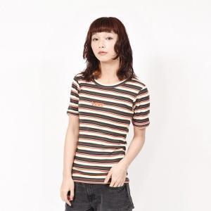 ヴァンズ Tシャツ VANSウェア Border Rib Girls S/S T-Shirt ショートスリーブ VA19SS-GT12 19SP GREEN|abc-martnet