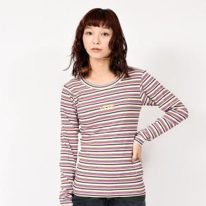 【VANSウェア】Border Rib Girls L/S T-Shirt ヴァンズ ロングスリーブTシャツ VA19SS-GT17 19SP PINK|abc-martnet