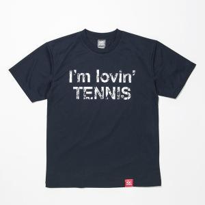 [ウェア](ラケット購入者専用Tシャツ1円!単品注文不可)ABCオリジナルス 「I'm lovin' TENNIS」ロゴ DRY T シャツ ネイビー×ホワイト(w-0012)