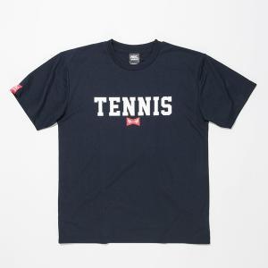 [ウェア](ラケット購入者専用Tシャツ1円!単品注文不可)ABCオリジナルス 「TENNIS」ロゴ DRY T シャツ ネイビー×ホワイト(w-0022)