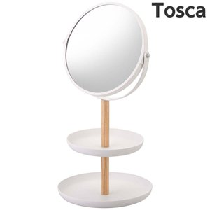 【スタンドミラー&トレイ トスカ】(ホワイト) スタンドミラー 卓上鏡 シンプル すっきり
