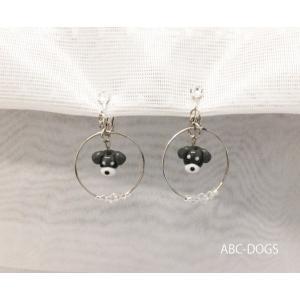 ガラスイヤリング(あづふらここ工房のわんこ玉+ABC-DOGS) シュナウザー|abcdogs
