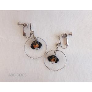 ガラスイヤリング(あづふらここ工房のわんこ玉+ABC-DOGS) ダックスブラックタン|abcdogs