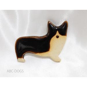 陶器ブローチ(こめがま) コーギー・飴色・右向き|abcdogs
