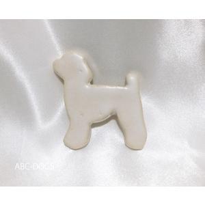 陶器ブローチ(こめがま) プードル・白|abcdogs