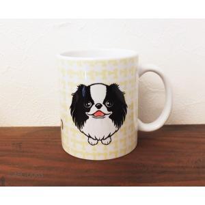 おねだりわんこマグカップ 狆(黒白)|abcdogs