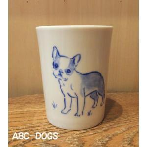 白磁湯呑み ボストンテリア|abcdogs