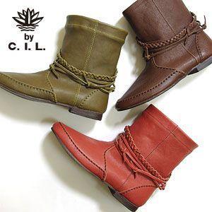 C.I.L シーアイエル 三つ編みベルト ショートブーツ 全2色 109C4012 (130918)|abich