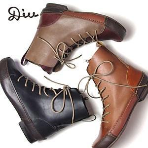 Diu ディウ レースアップ レザー ブーツ 全3色 315D4590 (150818)|abich