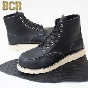 メンズ ワークブーツ モカシン 本革 レザー 男性 靴 皮 レースアップ ホワイトソール クレープソール ビーシーアール BCR roybc283 送料無料|ablya