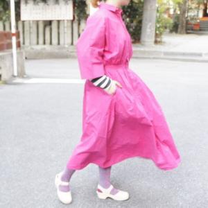 ICHI(イチ) バタフライスリーブシャツドレス pink|abracadabra