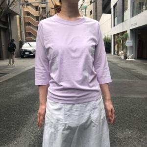 homspun (ホームスパン) 天竺七分袖Tシャツ ブラウン/ピンク|abracadabra