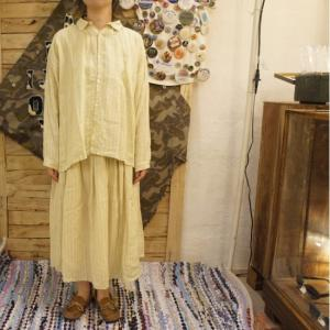 ICHI Antiquite's パジャマストライプシャツ レモン|abracadabra