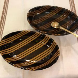 美濃焼 シェル型カレー皿 ストライプ|abracadabra