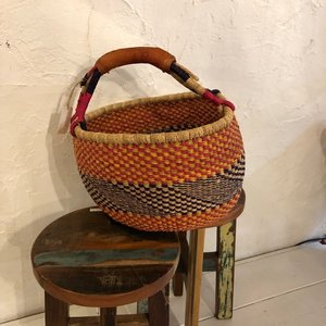 Burkina Basket カラフルグルスィラウンドバスケット Lサイズ/C|abracadabra