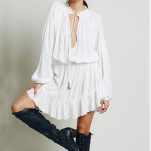 Topanga Fashion ティアードフリルミニドレス ホワイト|abracadabra