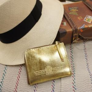 SARANAM (サラナン) エコムラレスレザーL字コンパクト財布 ゴールド abracadabra
