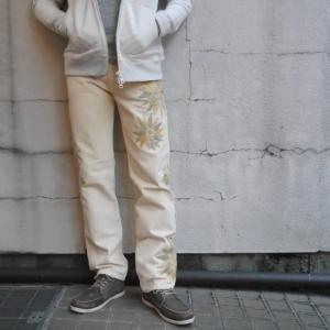 中国長城 USA フラワー刺繍リメイクパンツ イエロー×グリーン|abracadabra