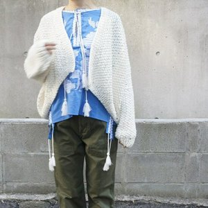 Hand Made Knit スローチルーズニットカーディガン アイボリー|abracadabra